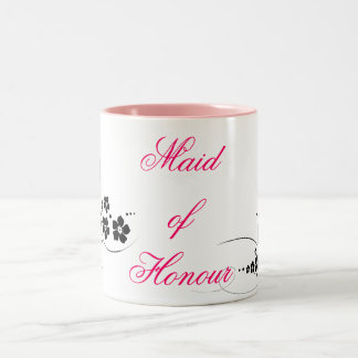 Maid of Honour pink and black Two-Tone Coffee Mug