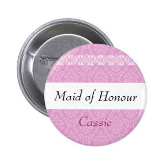 MAID OF HONOUR Pink Damask and Lace Wedding Pinback Buttons
