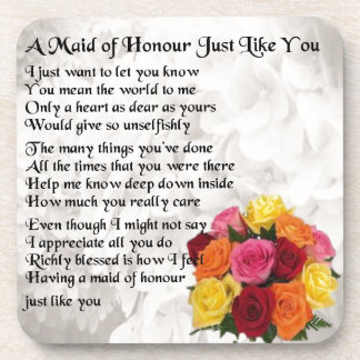Maid of Honour Poem - Flowers design Coaster