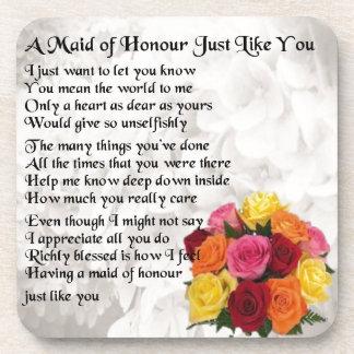 Maid of Honour Poem - Flowers design Coasters