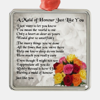 Maid of Honour Poem - Flowers design Square Metal Christmas Ornament