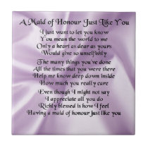 Maid of Honour Poem - Lilac Silk design Ceramic Tile