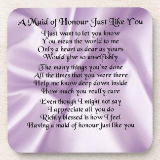Maid of Honour Poem - Lilac Silk design Drink Coaster
