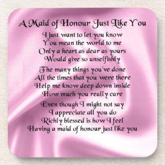 Maid of honour poem - Pink silk Drink Coaster