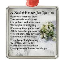 maid of honour poem - Wedding Bouquet design Metal Ornament
