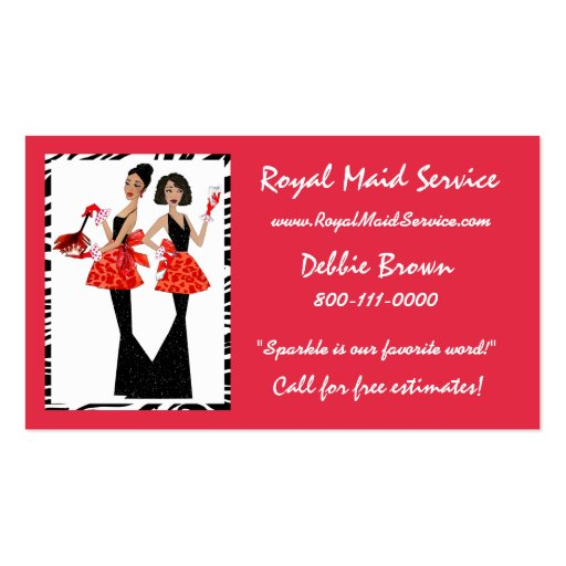 African american business card templates bizcardstudio maid service business cards colourmoves Images