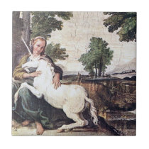 Maiden and Unicorn Tile by Domenichino circa 1602