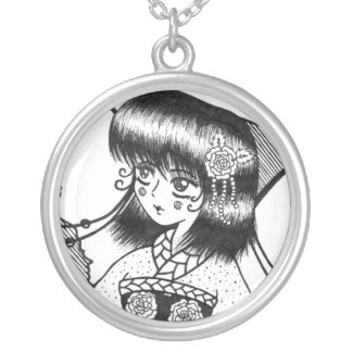 Maiden Butterfly Round Pendant Necklace