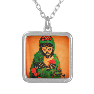Maiden Hell Day of the Dead Silver Plated Pendant