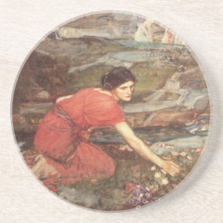 Maiden Picks Flowers by a Stream Drink Coaster