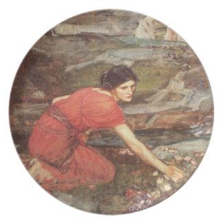 Maiden Picks Flowers by a Stream Dinner Plate
