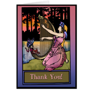 Maiden Playing Harp By The Lake (Thank You) Card