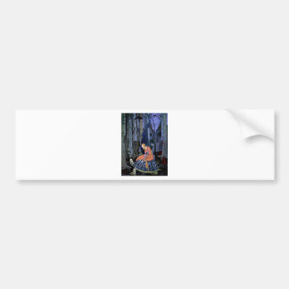Maiden & Turtle ~ French Fairy Tale Art Painting Car Bumper Sticker