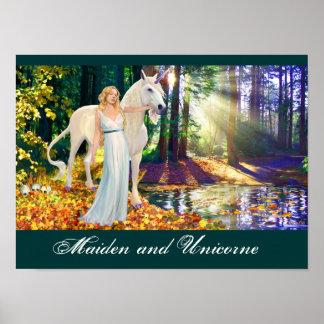 Maiden & Unicorne Artistic Poster by DARLENE