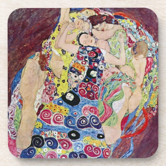 Maiden (Virgin), Gustav Klimt, Vintage Art Nouveau Beverage Coaster