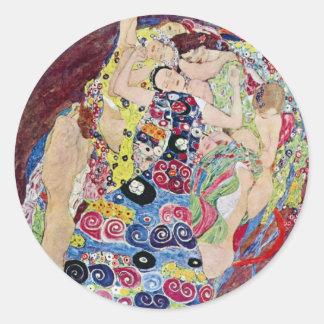 Maiden (Virgin), Gustav Klimt, Vintage Art Nouveau Classic Round Sticker