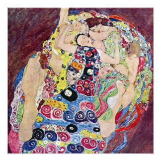 Maiden Virgin Gustav Klimt Vintage Art Nouveau Custom Invitations