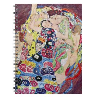 Maiden (Virgin), Gustav Klimt, Vintage Art Nouveau Notebook
