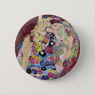Maiden (Virgin), Gustav Klimt, Vintage Art Nouveau Pinback Button