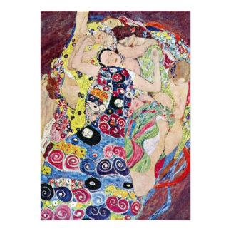 Maiden Virgin Klimt Art Nouveau Bridal Shower Invites
