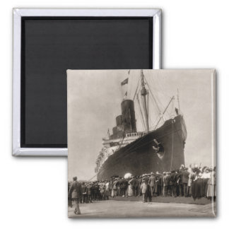 Maiden Voyage of RMS Lusitania 13 Septemeber 1907 2 Inch Square Magnet