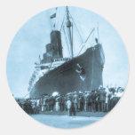 Maiden Voyage of RMS Lusitania, 13 Septemeber 1907 Classic Round Sticker