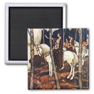 Maidens on White Horses, Dulac Illustration Magnet