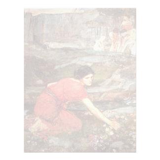 Maidens Picking Flowers by John William Waterhouse Letterhead Template