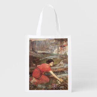 Maidens Picking Flowers by John William Waterhouse Reusable Grocery Bags