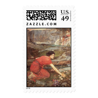 Maidens Picking Flowers by the Stream - Waterhouse Postage Stamp