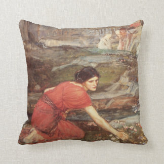 Maidens Picking Flowers Oil Painting Throw Pillow