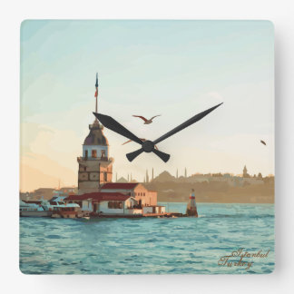 Maiden's Tower Illustration Square Wall Clock