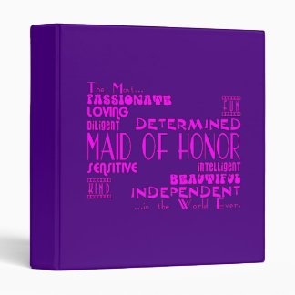 Maids of Honor Wedding Party Favors : Qualities 3 Ring Binder