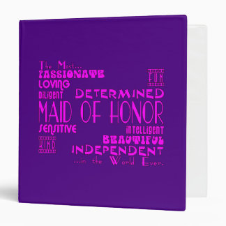 Maids of Honor Wedding Party Favors : Qualities 3 Ring Binders