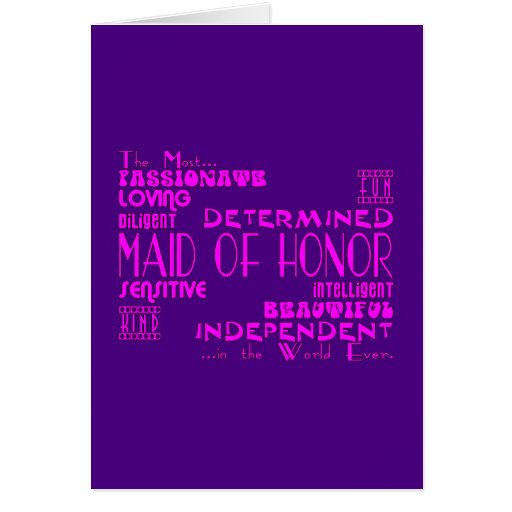 Maids of Honor Wedding Party Favors : Qualities Cards