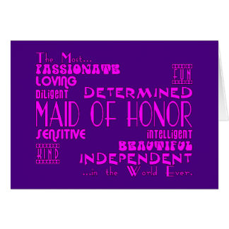 Maids of Honor Wedding Party Favors : Qualities Card