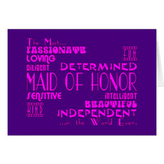 Maids of Honor Wedding Party Favors : Qualities Stationery Note Card