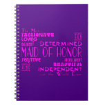 Maids of Honor Wedding Party Favors : Qualities Spiral Note Book
