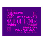 Maids of Honor Wedding Party Favors : Qualities Postcard