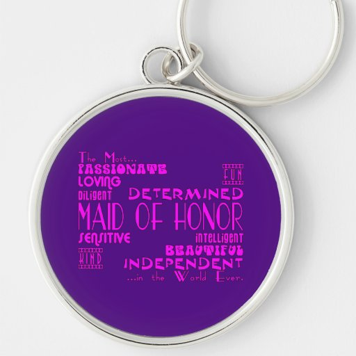 Maids of Honor Wedding Party Favors : Qualities Silver-Colored Round Keychain