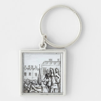 Maids of Taunton Kneeling before Duke of Silver-Colored Square Keychain