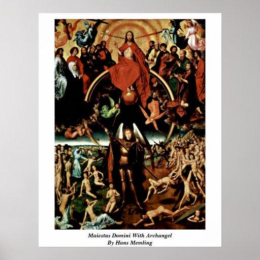 Maiestas Domini con arcángel de Hans Memling Póster