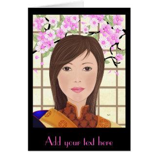 Maiko Geisha With Cherry Blossom, Greeting Card