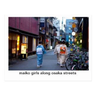 Maiko Girls along osaka streets Post Cards