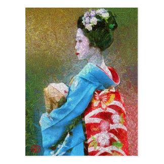 Maiko in Pointillism Postcard