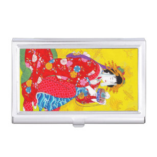 Japanese girl wallets zazzle maiko japanese girl in kimono lady woman geisha business card case colourmoves