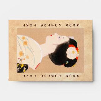 Maiko japanese girl in kimono lady woman geisha envelope