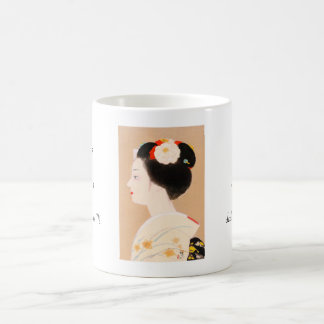 Maiko japanese girl in kimono lady woman geisha classic white coffee mug