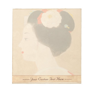 Maiko japanese girl in kimono lady woman geisha memo notepad