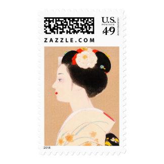 Maiko japanese girl in kimono lady woman geisha postage stamps